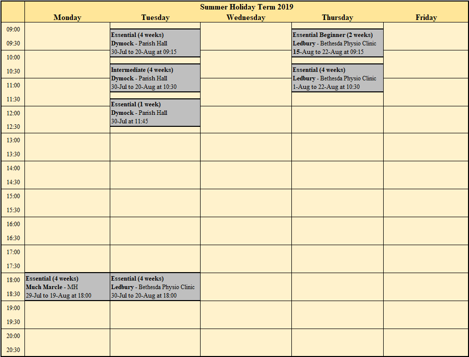 Pilates timetable for Ledbury, Newent, Dymock, Staunton and Much Marcle.